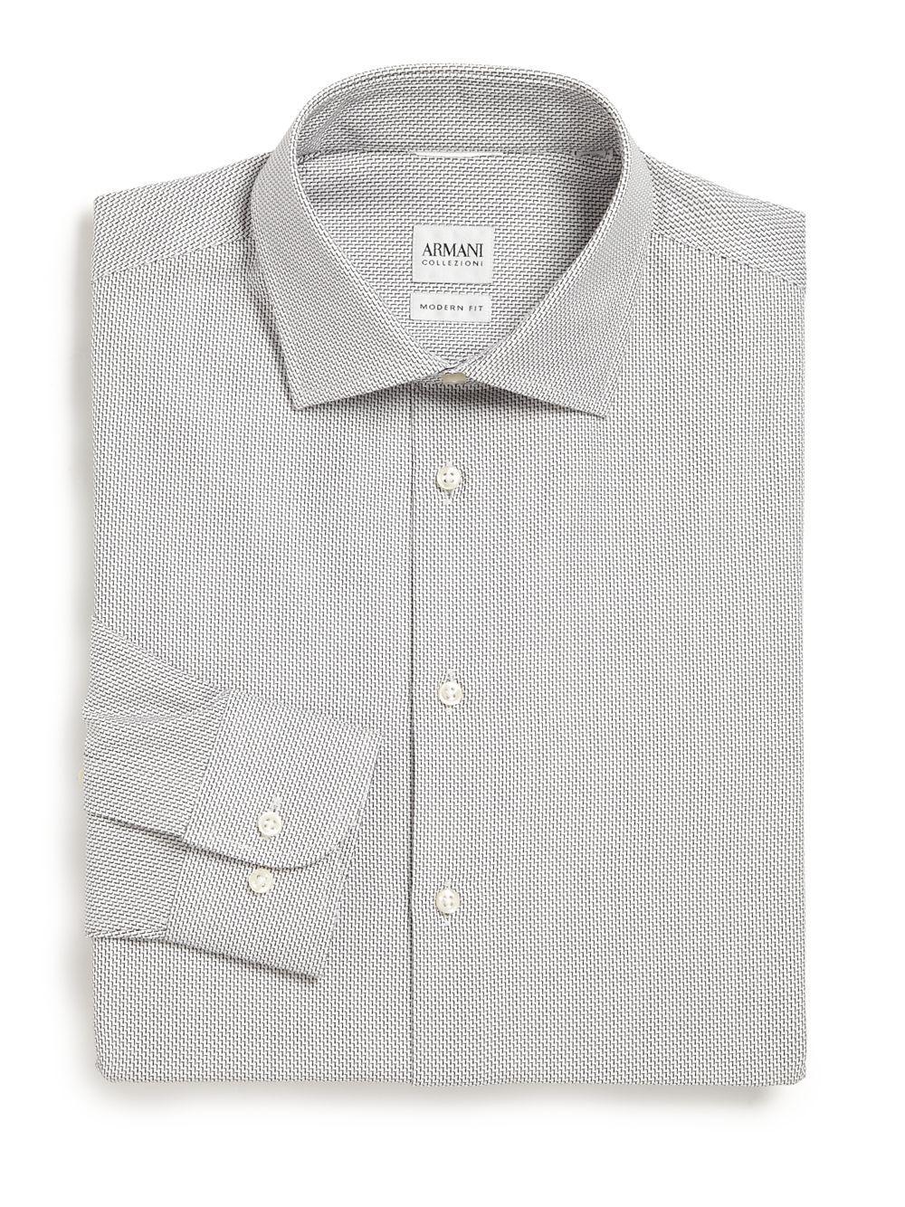 Armani modern fit printed dress shirt in white for men lyst for Modern fit dress shirt