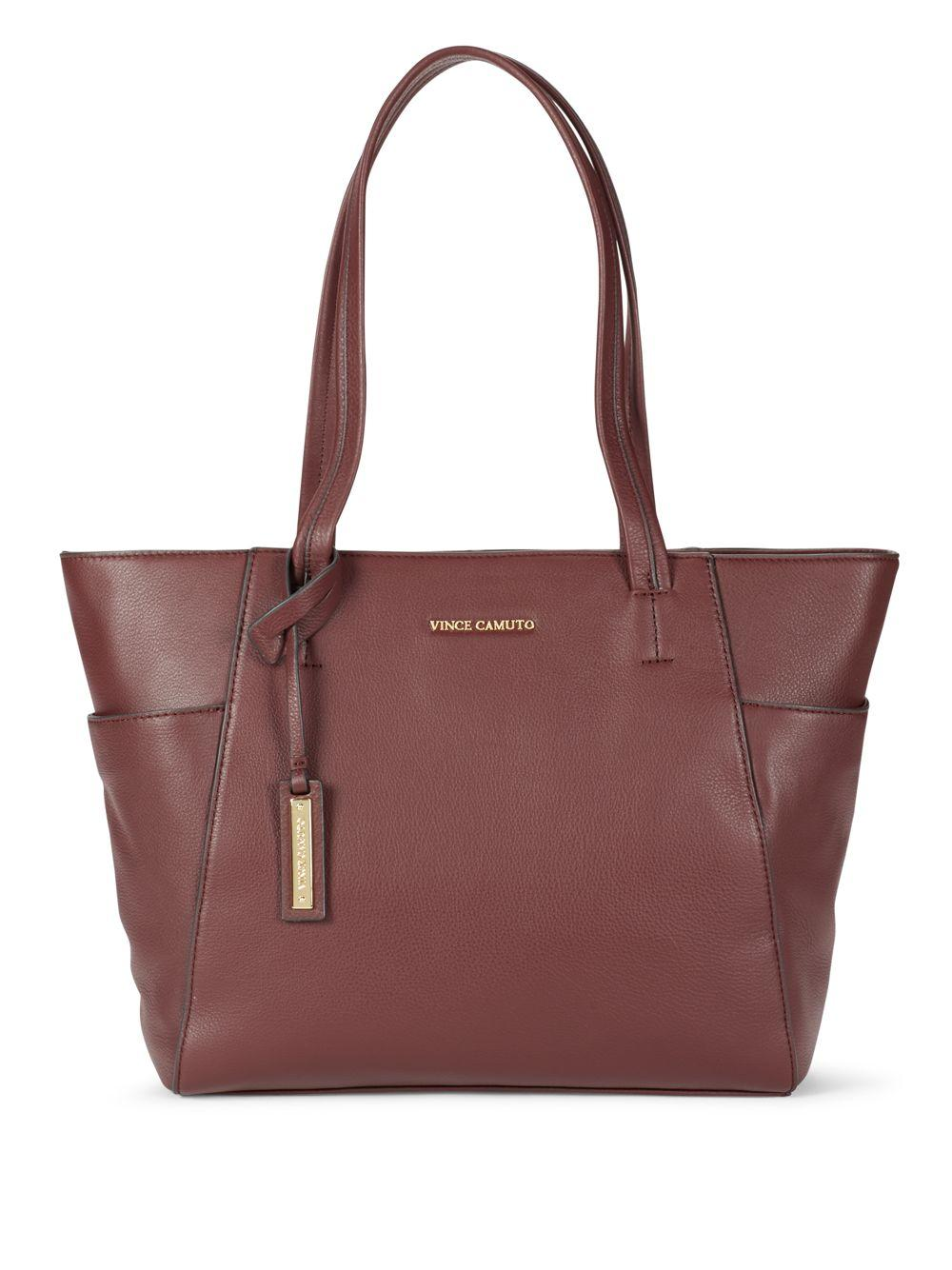 Vince Camuto Trapazoid Leather Tote In Red Lyst