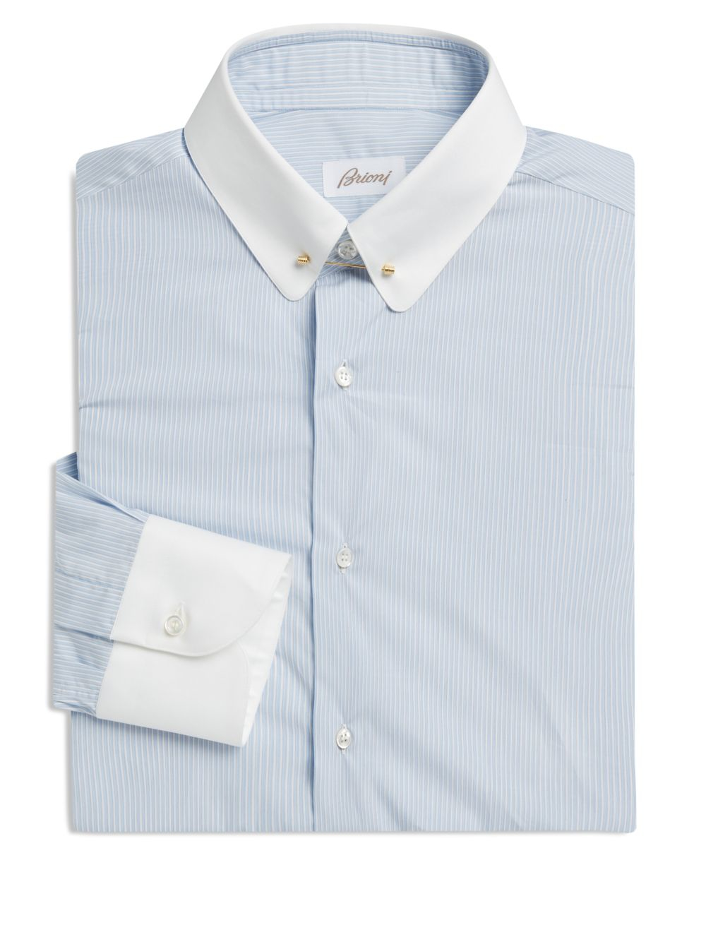 Brioni contrast collar cuff fitted dress shirt in blue for Mens dress shirts with contrasting collars and cuffs
