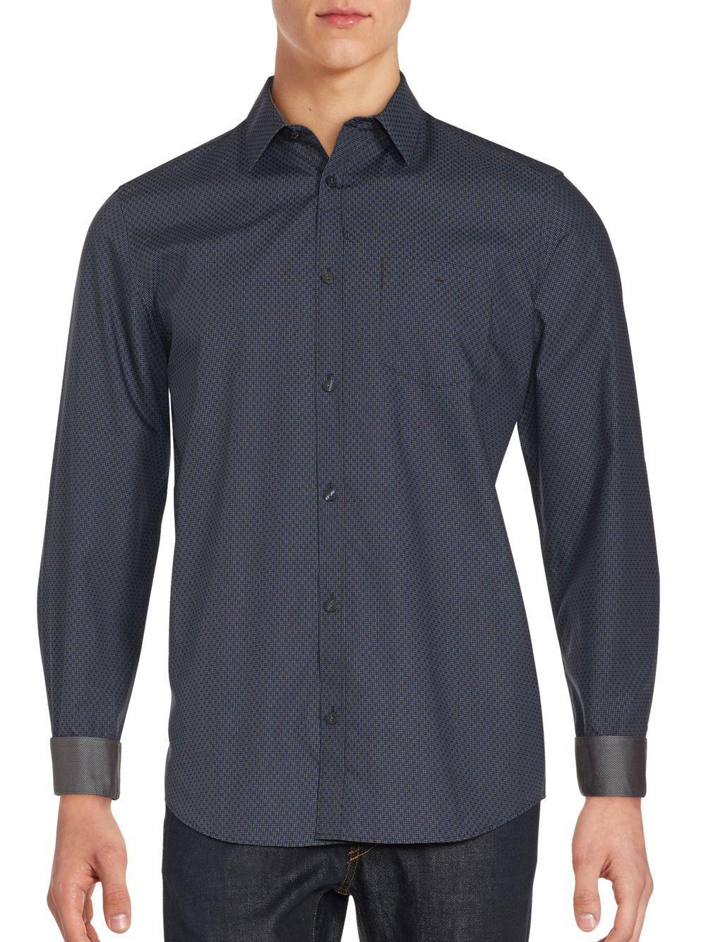 Calvin Klein Printed Cotton Button Down Shirt In Black For