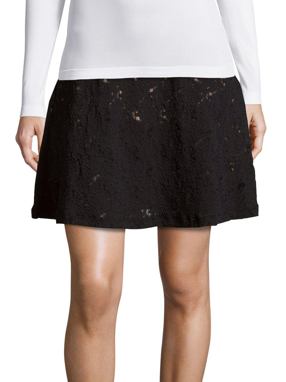 bcbgmaxazria lace a line skirt in black lyst