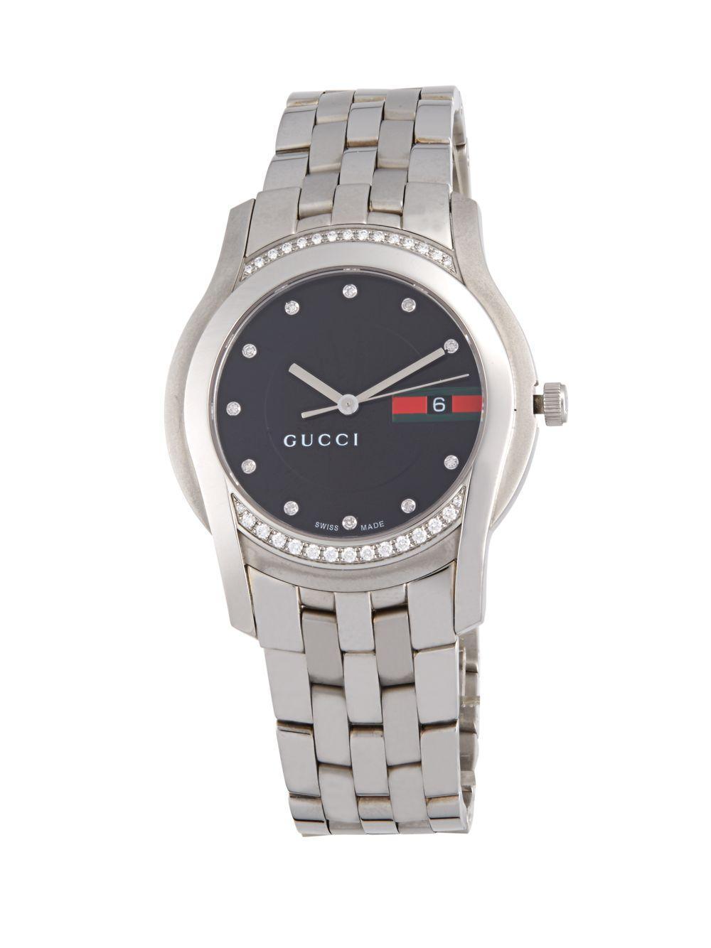 08400005cb3 Lyst - Gucci Diamond Studded Swiss Quartz Watch in Black