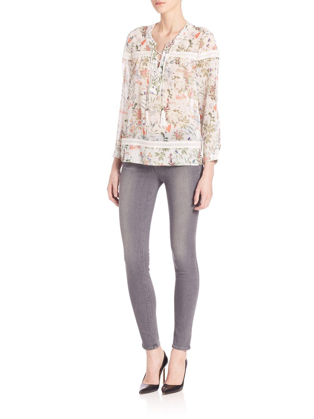 1ad64fd4a23 Lyst - The Kooples Botanic Chiffon Lace-up Top in White