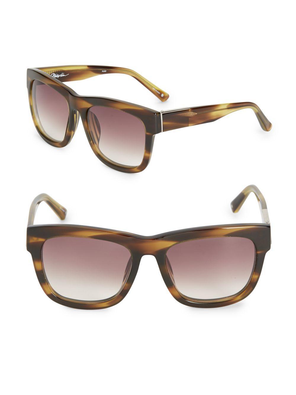 3 1 phillip lim 56mm square gradient sunglasses in brown