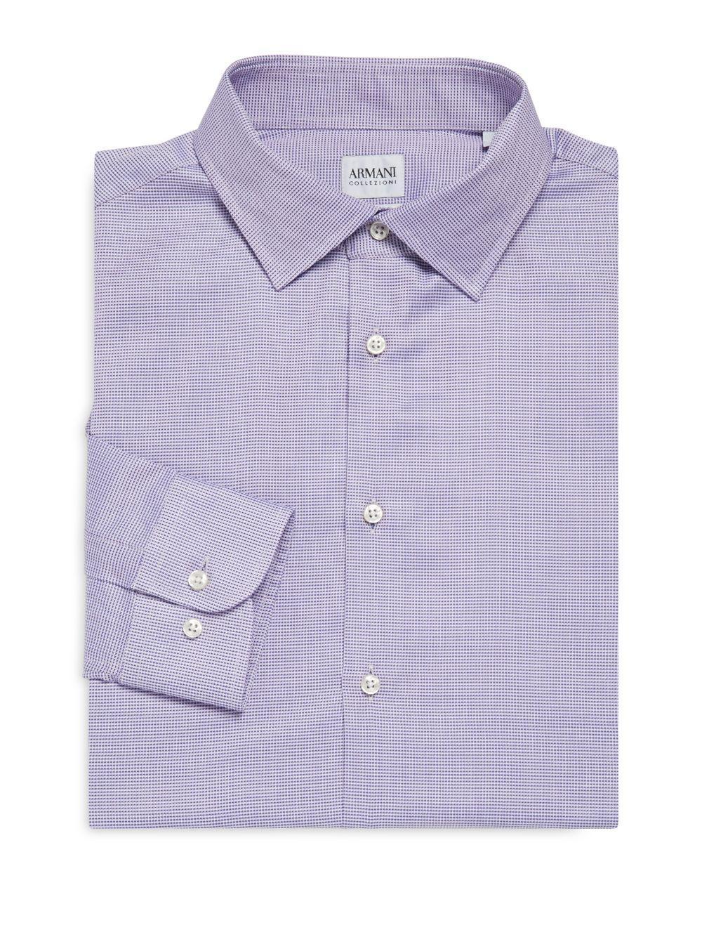 Armani modern fit textured dress shirt in pink for men lyst for Modern fit dress shirt