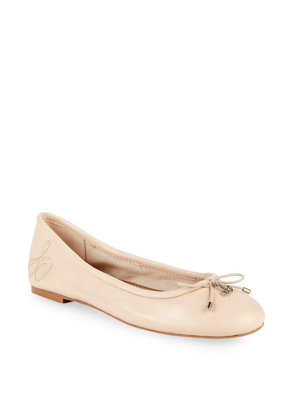 8b3bba8c9de9f Sam Edelman Felicia Leather Ballet Flats in Natural - Lyst