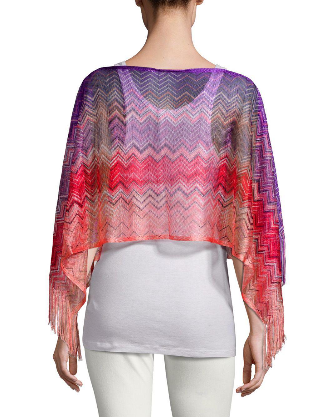 2b66c273a7bc8 Missoni Crochet Fringe Stripe Poncho in Pink - Lyst