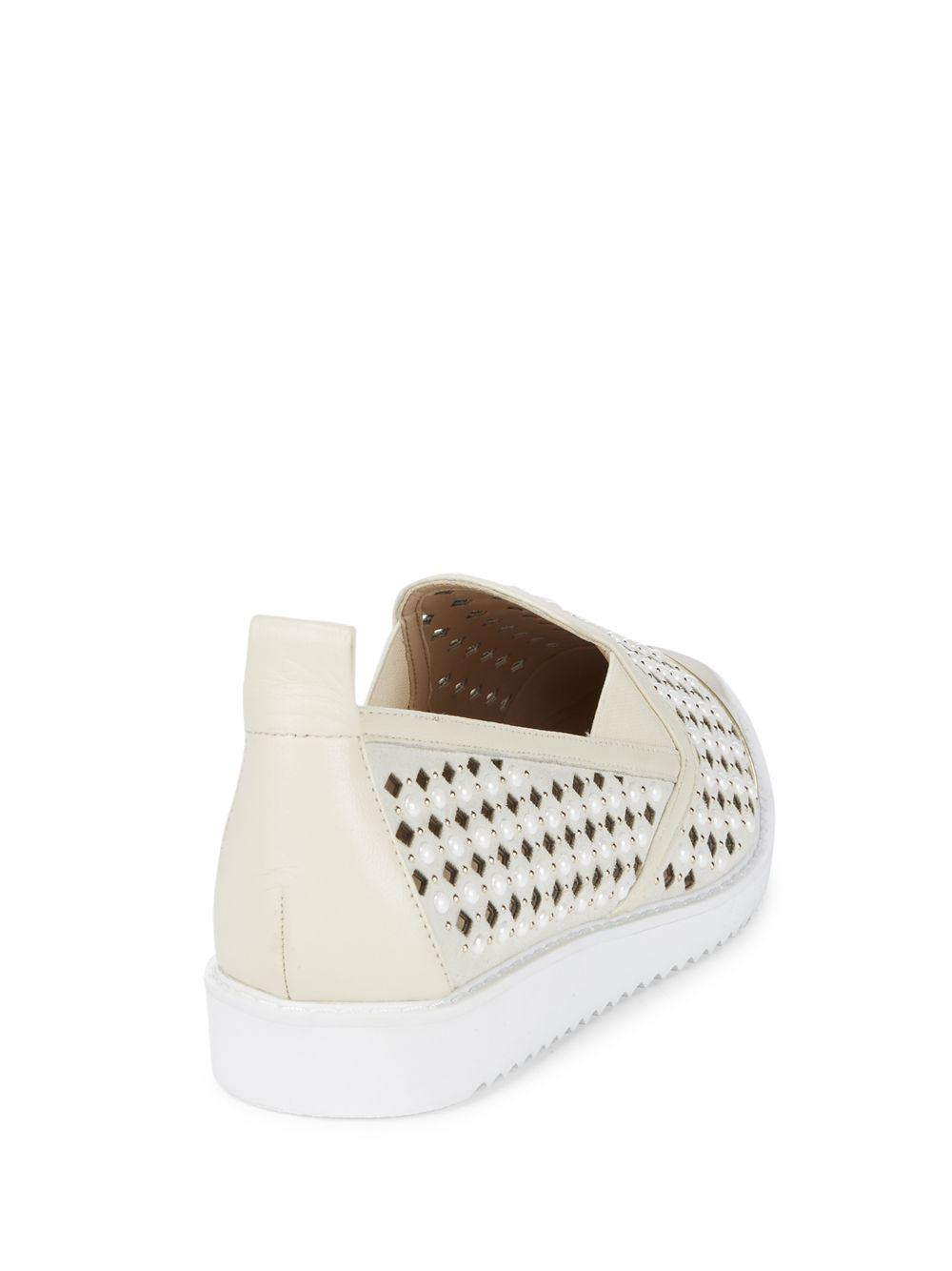 Karl Lagerfeld Leather Carrie Laser-cut Diamond Sneakers in White