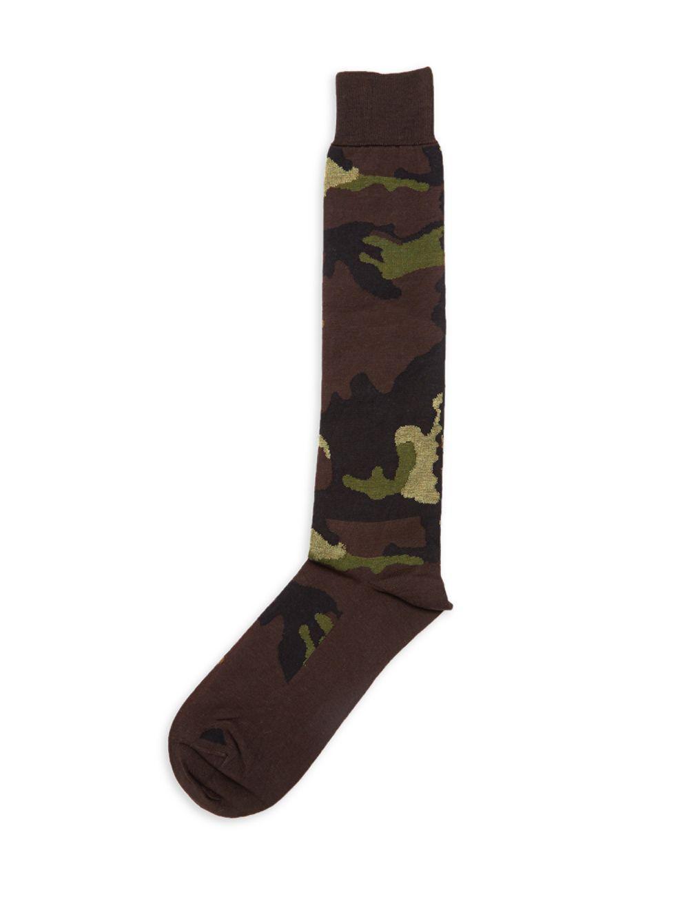 b37d445ec Valentino Camo-print Knee-high Socks in Green for Men - Lyst