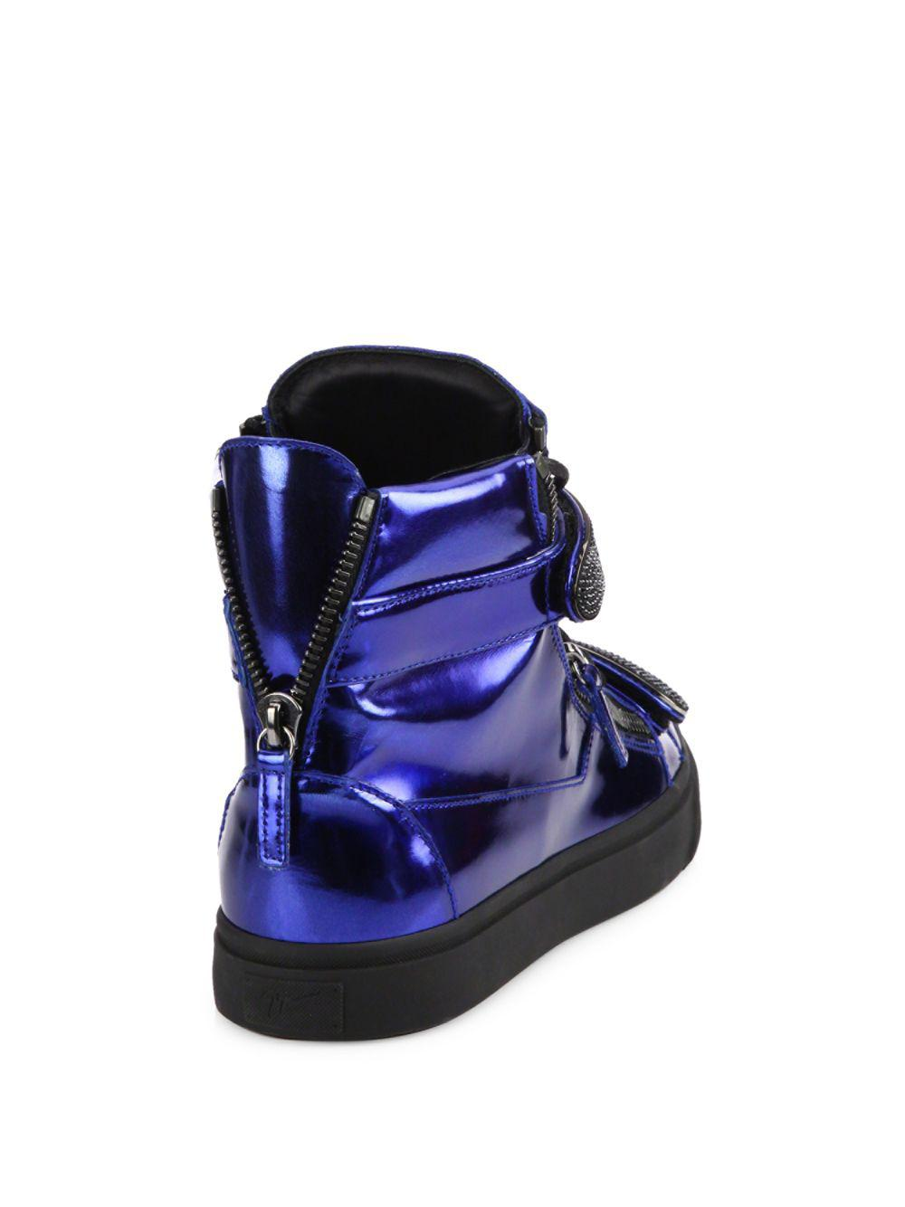 c6cdd65c1ae7d Lyst - Giuseppe Zanotti Metallic Double Bar High-top Sneakers in Blue for  Men - Save 2%