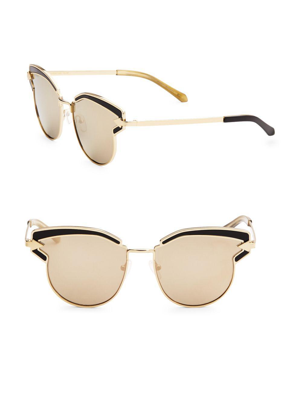 d019865d10c Lyst - Karen Walker Superstars Feli 57mm Cat Eye Sunglasses in Metallic