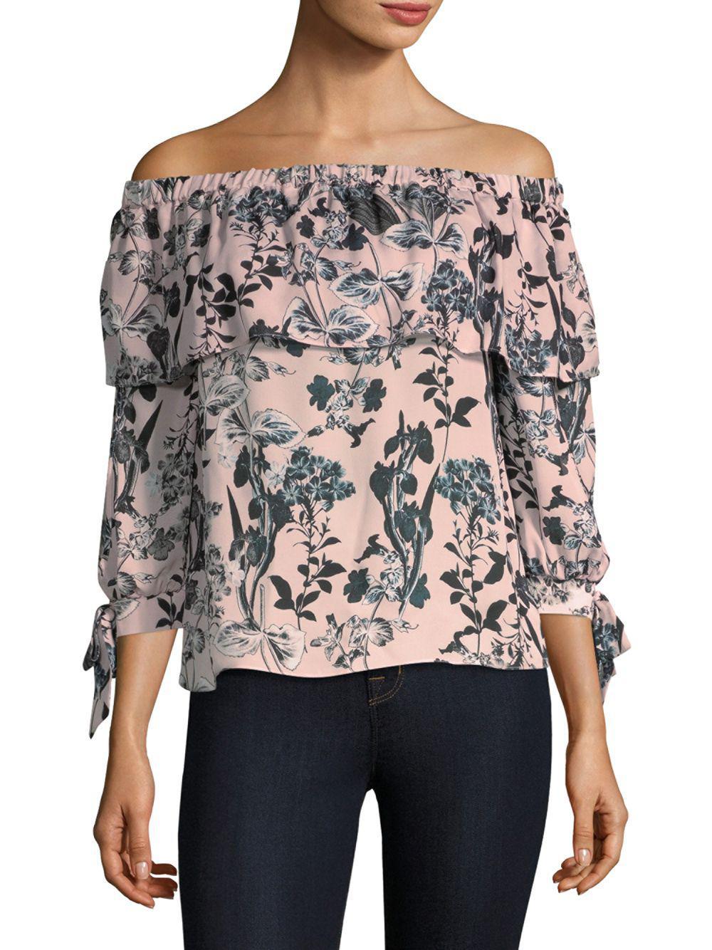 a15dc0541ea70 Lyst - Parker Mandy Off-the-shoulder Silk Top - Save 63%