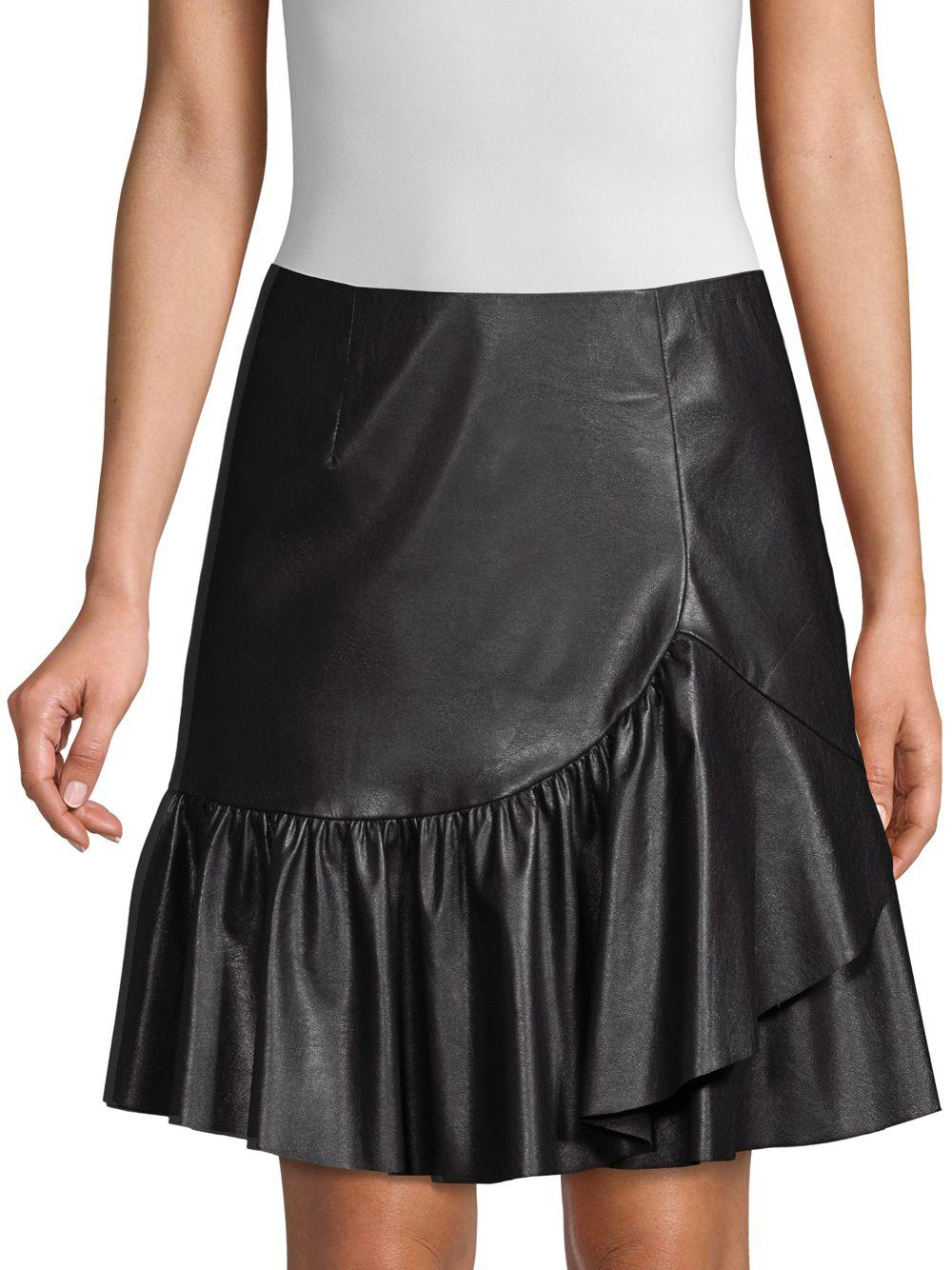 b1c6d5b9d Rebecca Taylor Vegan Leather Faux-wrap A-line Skirt in Black - Save ...