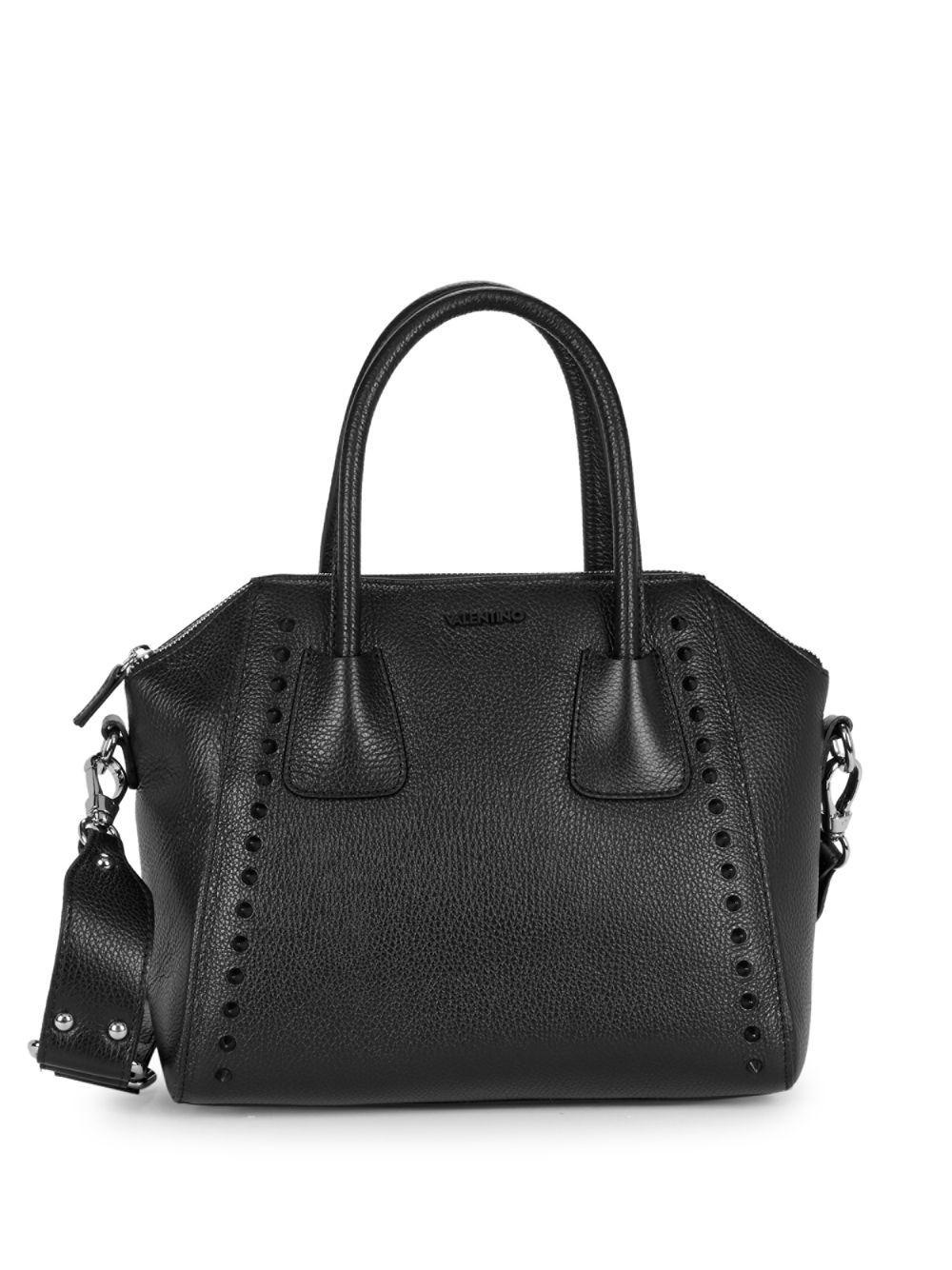 b237ad2e5522 Valentino By Mario Valentino. Women s Black Minimi Pebbled-leather  Structure Satchel
