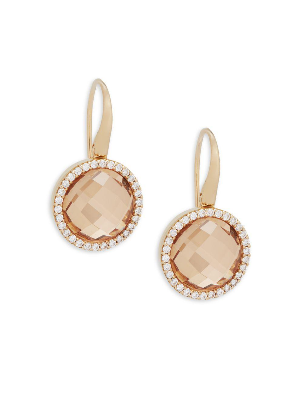 Roberto Coin 18k Rose Gold Diamond & Crystal Doublet Earrings TvwWuoXS