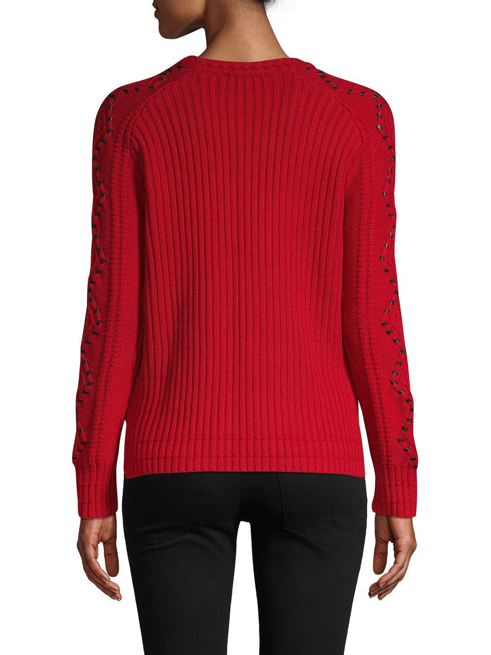 0f377ff0ac Lyst - Maje Faux Leather-trimmed Sweater in Red