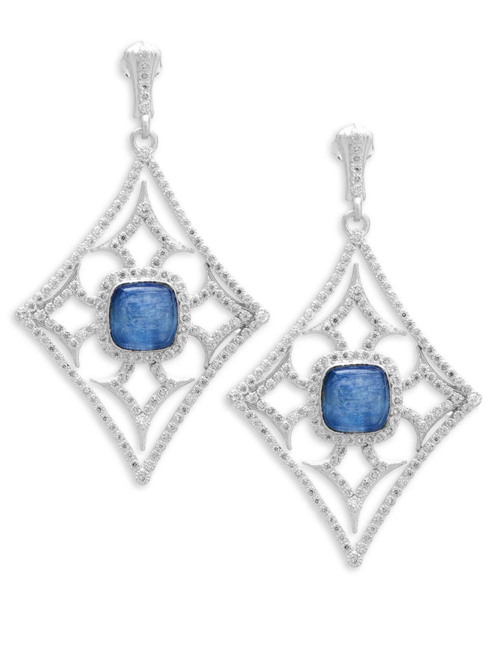 Armenta New World Midnight Triplet Drop Earrings with Diamonds