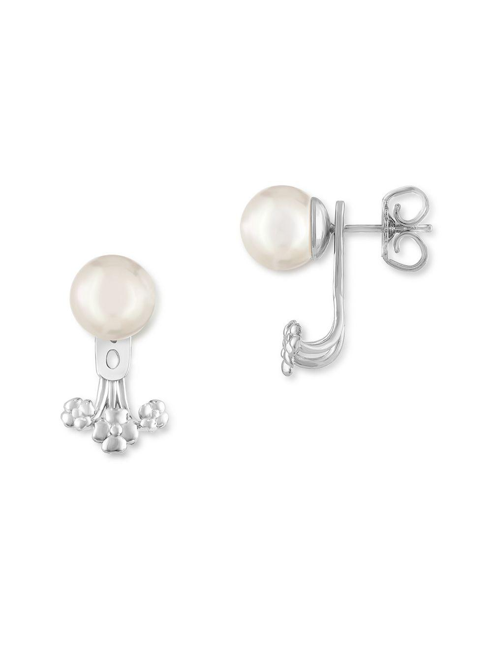 silver products stud earrings collections classic pearl sterling wholesale