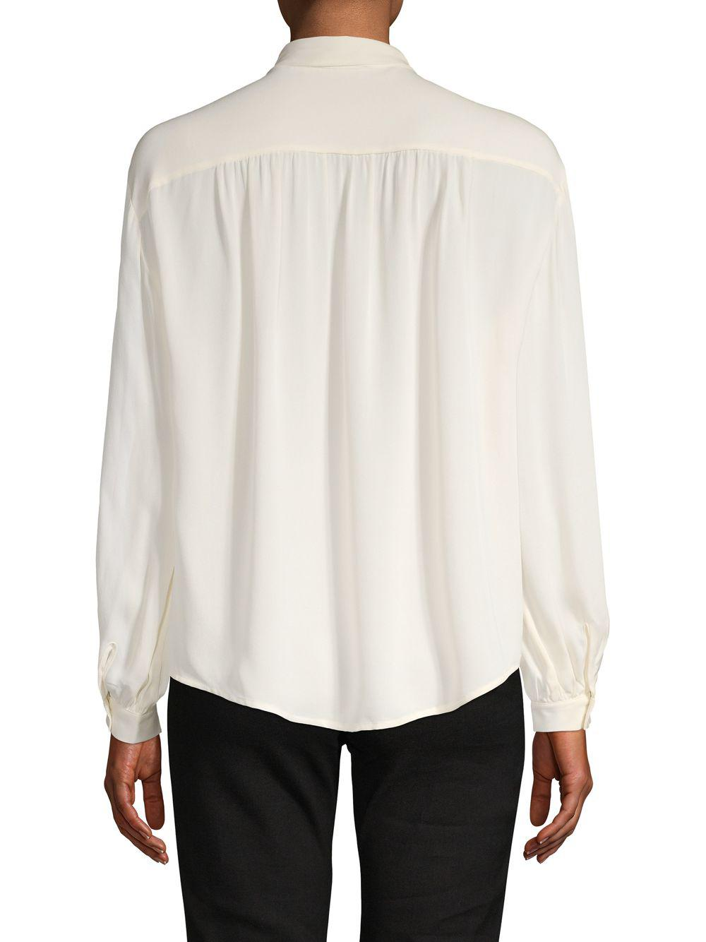 8593269a1004a Lyst - Joie Bow-accented Long-sleeve Silk Top in White
