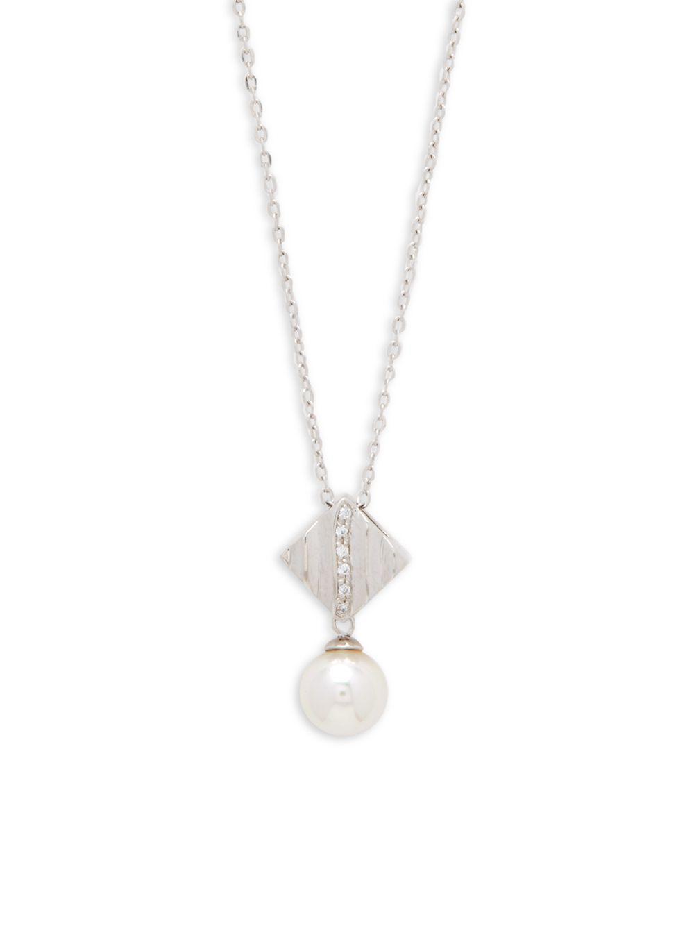 Majorica Cubic Zirconia & Pearly Cross Pendant Necklace 3f7quJ4y9