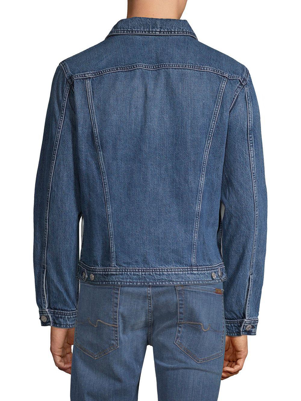 7 For All Mankind Inside Out Denim Trucker Jacket in Vintage Blue (Blue) for Men