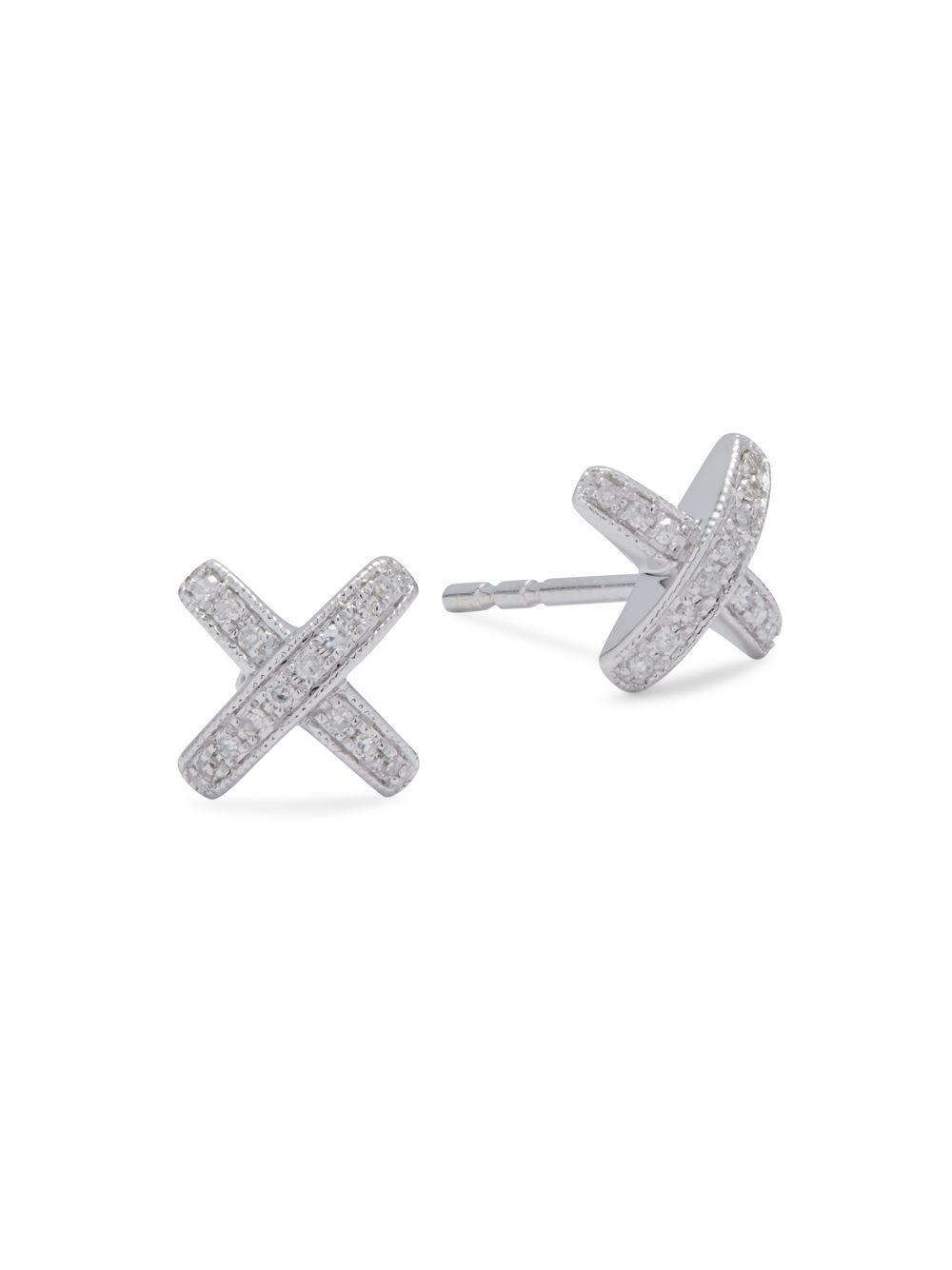 Kc Designs Women S Metallic Diamond 14k White Gold X Shaped Stud Earrings