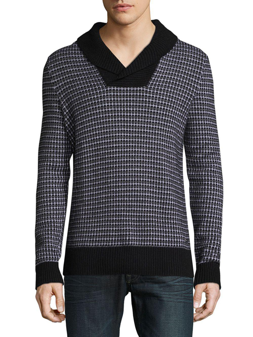 f9ad2ccb8 Lyst - BOSS Checkered Wool Sweater in Black for Men