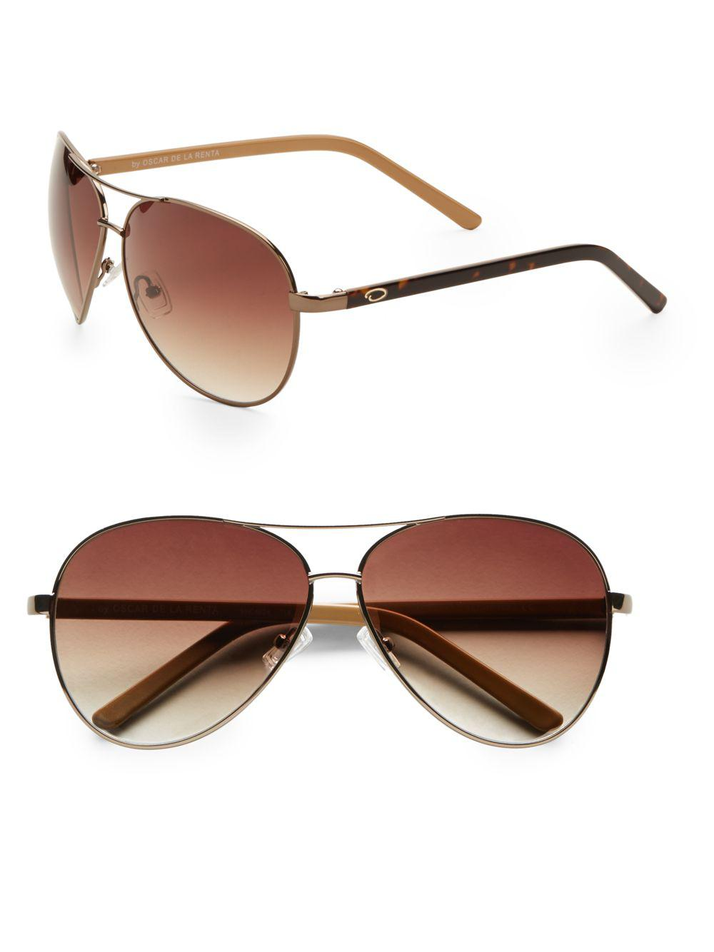 c828167459 Oscar De La Renta Classic Metal Aviator Sunglasses in Metallic - Lyst