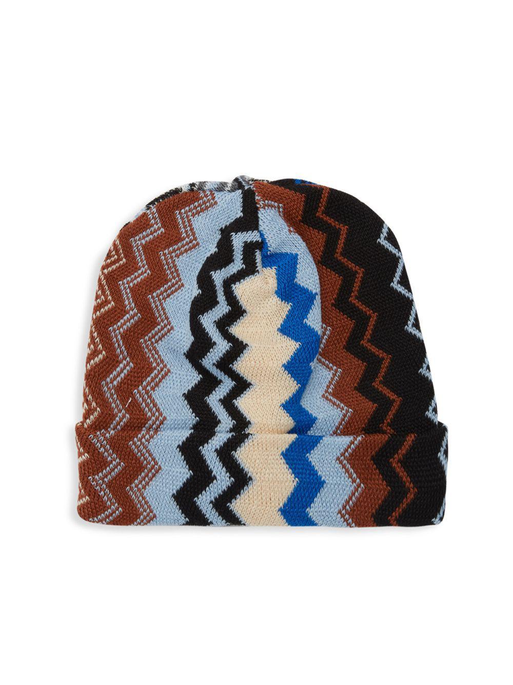 b7d719a0985 Lyst - Missoni Chevron Knit Beanie in Blue