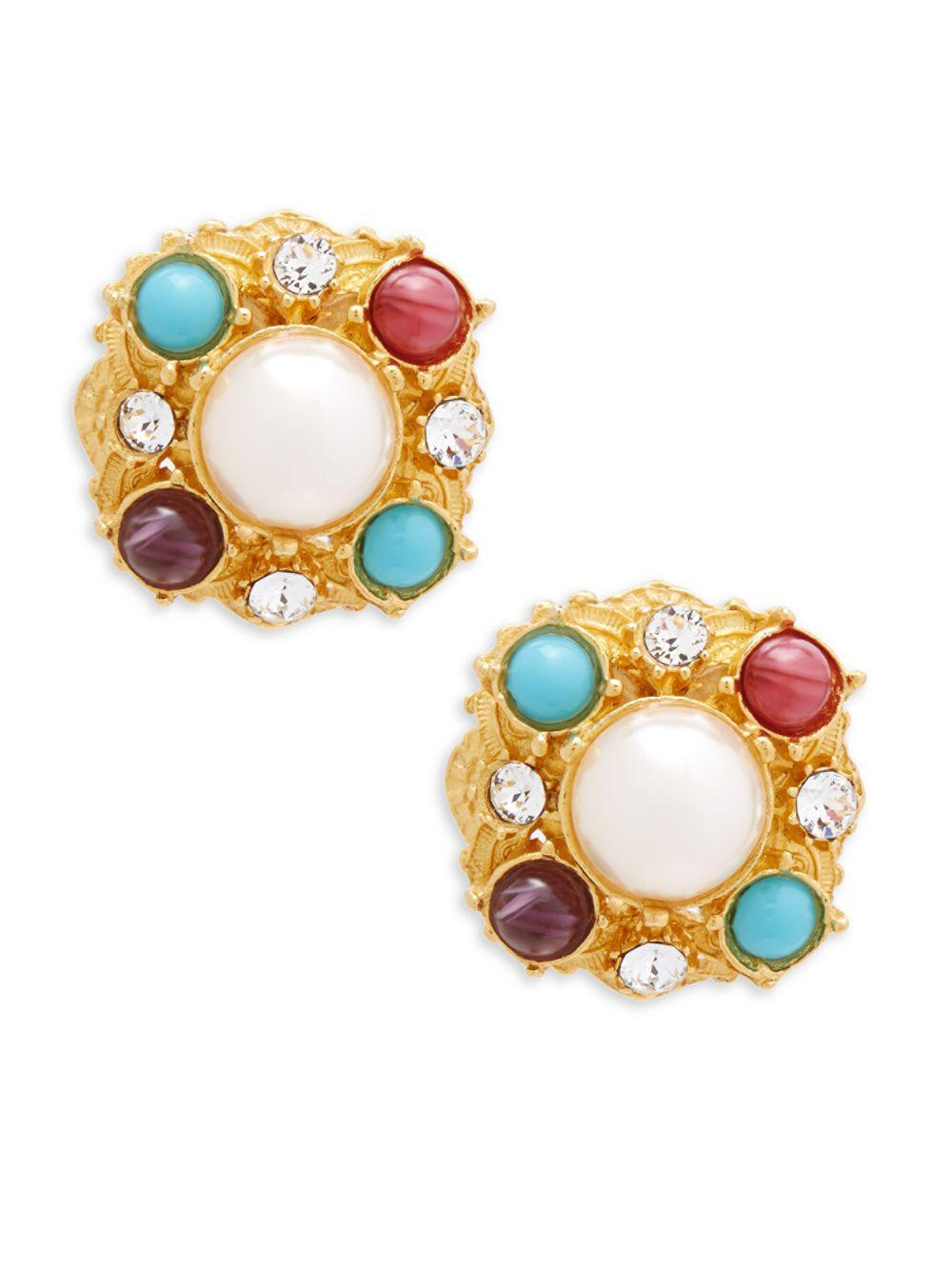 Ben-Amun Multicolor Clip-On Drop Earrings eNwh2O6zm