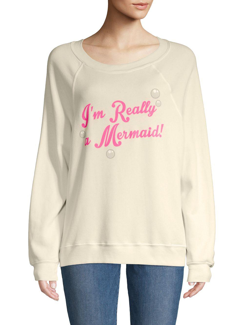 Wildfox Cotton I M Really A Mermaid Sweater Lyst