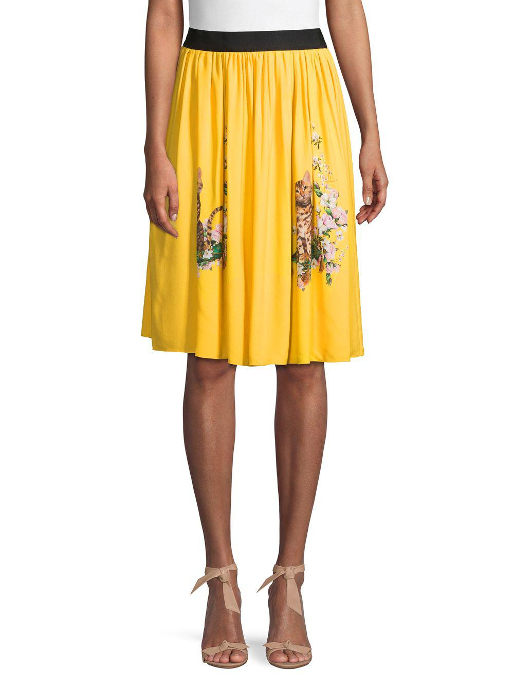 0cbe1772a763 Lyst - Dolce   Gabbana Graphic Pleated Skirt in Yellow