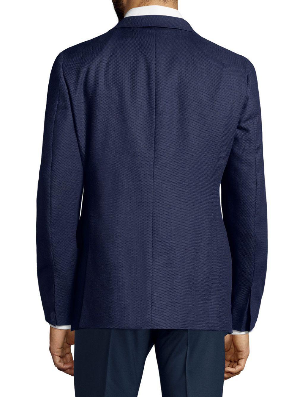 Boglioli Wool Textured Suit Jacket in Navy (Blue) for Men