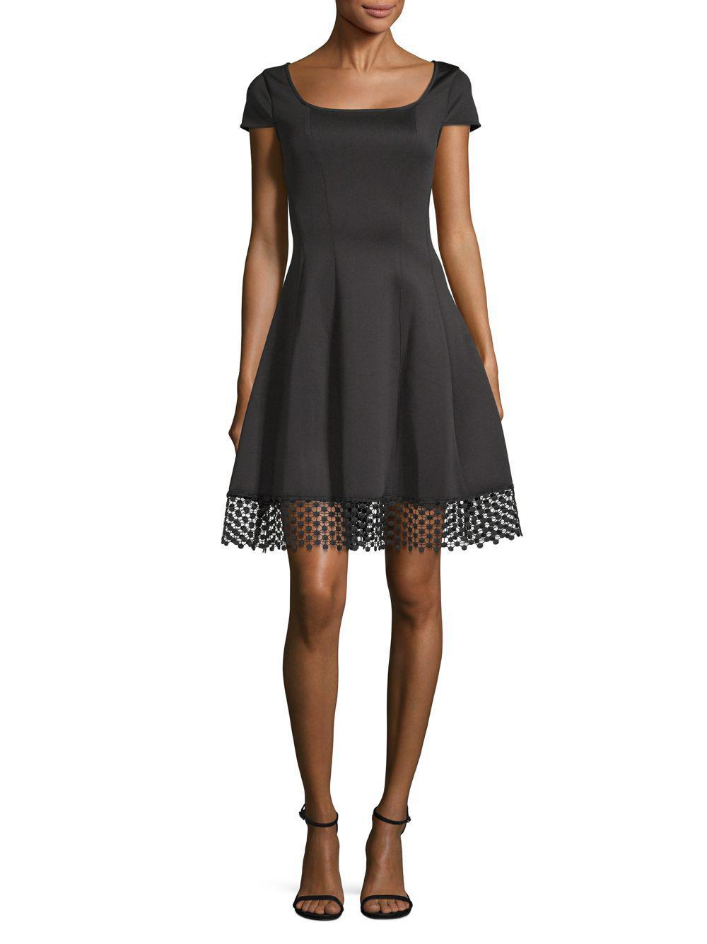 5a288f289d6a4 Donna Ricco Cap-sleeve Scuba Fit-&-flare Dress in Black - Lyst