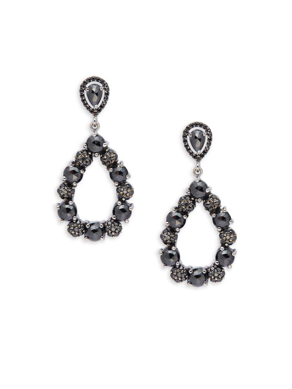 Bavna Floral Black Spinel Dangle Earrings 5uIuxsFv
