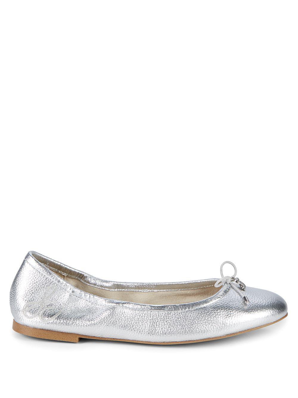 017af2831412a Sam Edelman Felicia Metallic Leather Ballet Flats in Metallic - Lyst