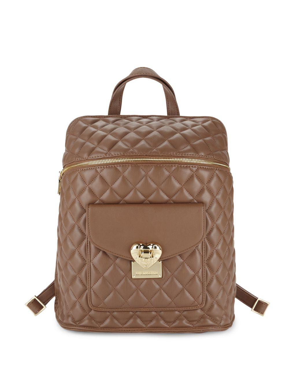 Lyst - Love moschino Quilted Faux Leather Backpack in Brown : quilted faux leather backpack - Adamdwight.com