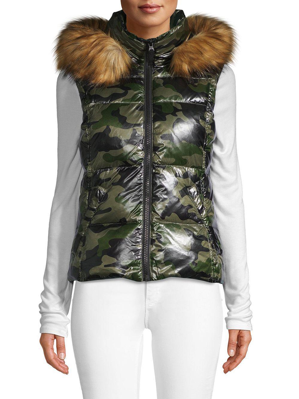 f7b92a56db059 S13/nyc Faux Fur Trim Camo Down Vest in Green - Lyst