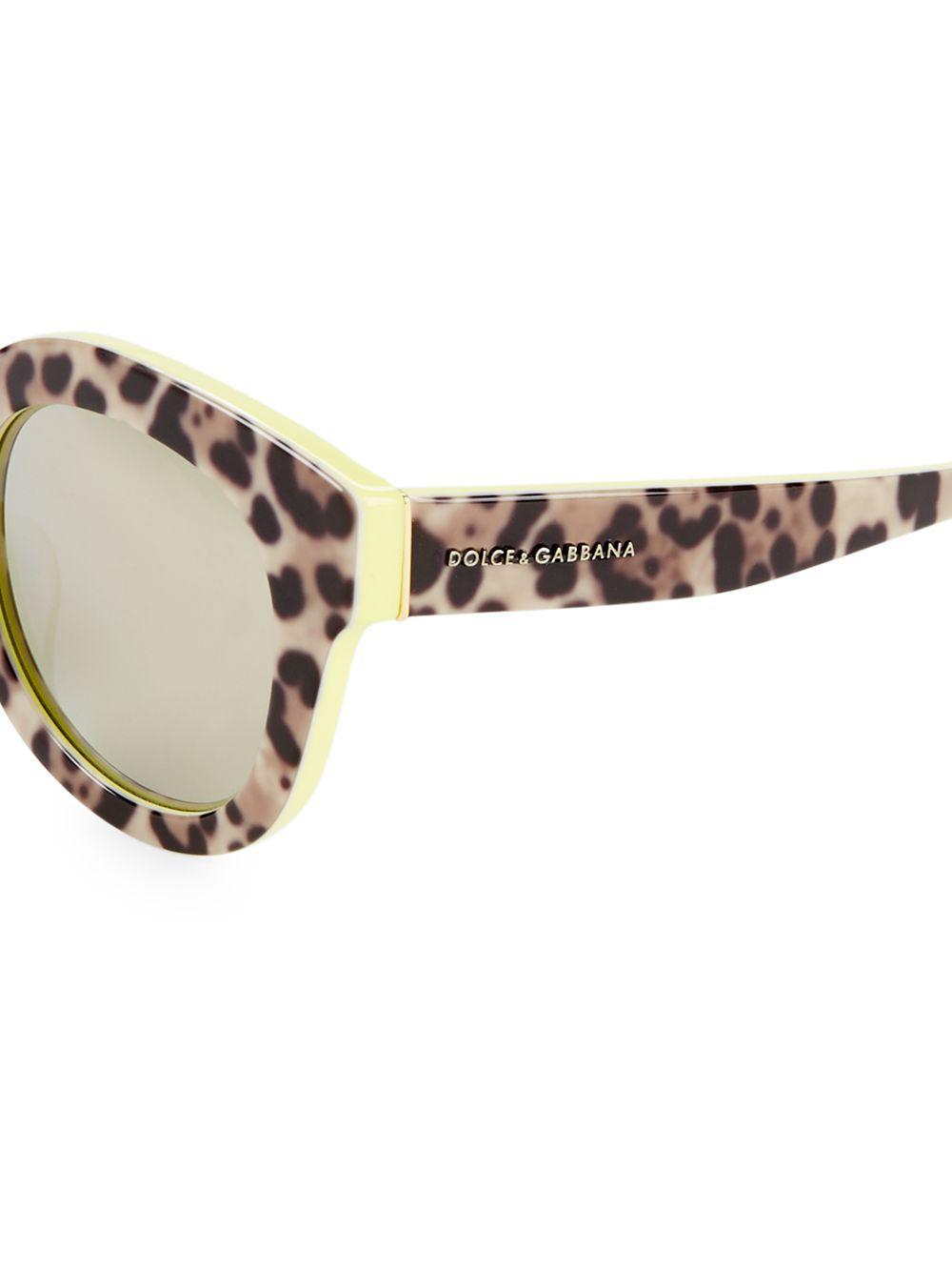 9c7482d6b36 Dolce   Gabbana 49mm Leopard Mirror Lens Sunglasses in Brown - Lyst