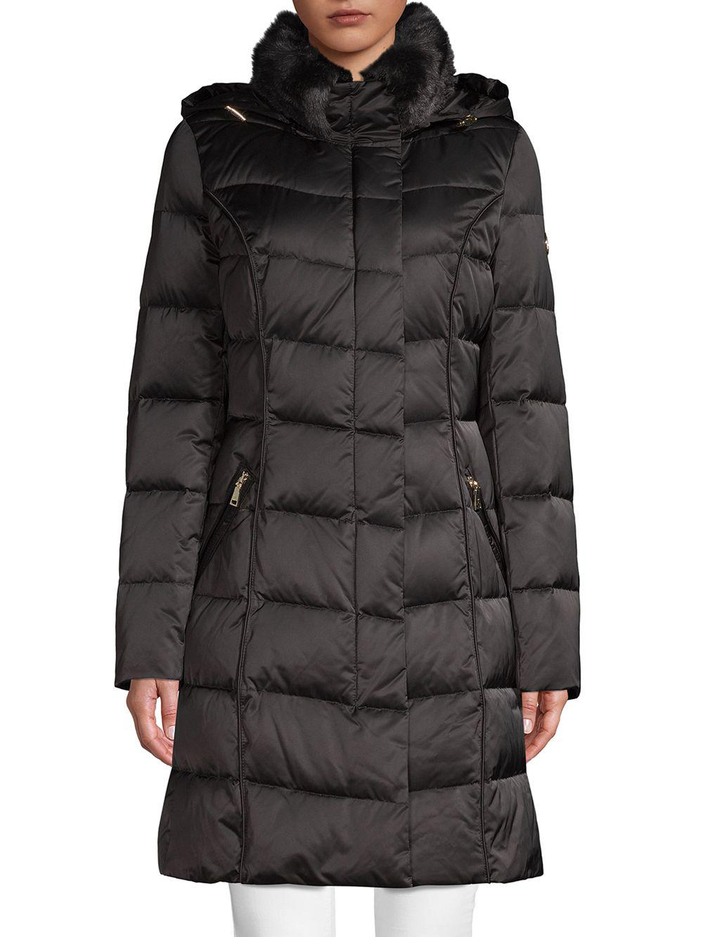 Tahari Synthetic Faux Fur Trimmed Down Puffer Coat In