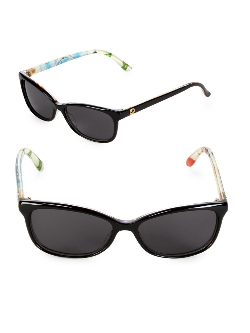996a5b8ed872 Gucci 55mm Floral Cat-eye Sunglasses in Black - Lyst