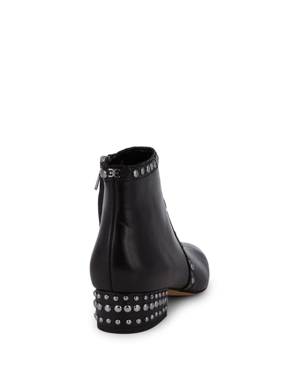 ff265365739b Lyst - Sam Edelman Lorin Studded Block-heel Leather Booties in Black