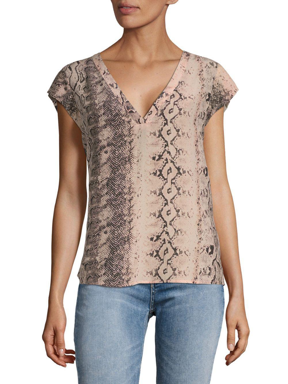 97311cb28d17c5 Lyst - Joie Rubina Snakeskin-print Silk Blouse in Pink