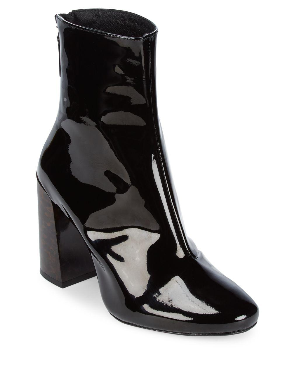 e3808587ffee Lyst - Pure Navy Patent Leather Booties in Black - Save 16%