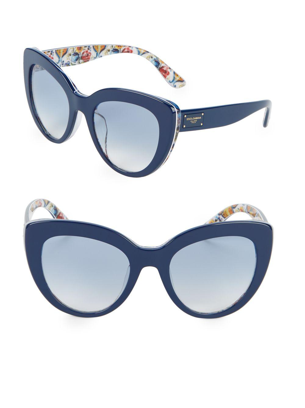 da1dff9f9725 Dolce   Gabbana 53mm Tile Print Cateye Sunglasses in Blue - Lyst