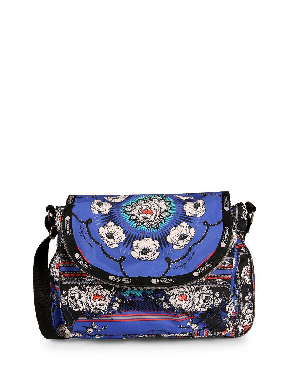 Lesportsac Women S Blue Colette Fl Canvas Messenger Bag