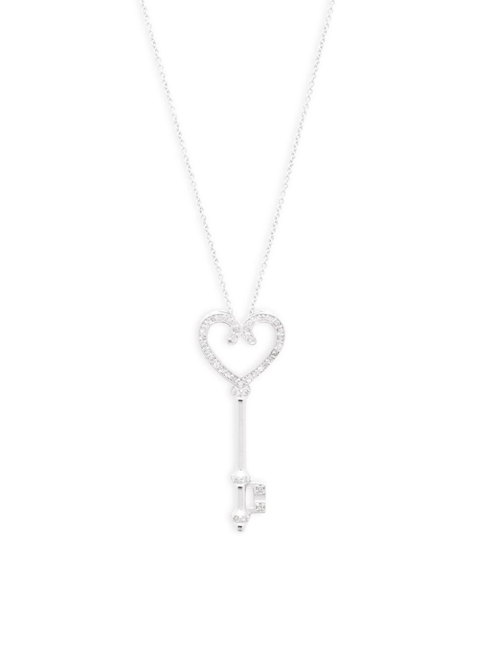 c98927d9eb1bd2 Lyst - Effy Diamond And 14k White Gold Key Pendant Necklace in Metallic