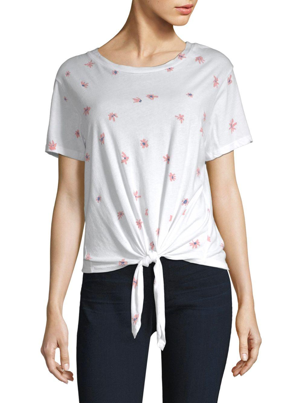 4e9bdd60ed8 Sundry Daisies Tie-front Tee in White - Save 5% - Lyst