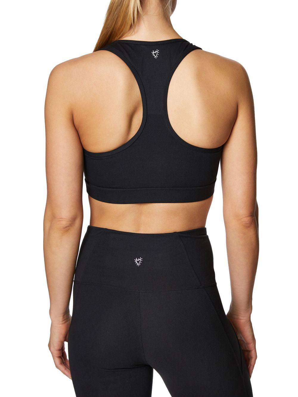 a40de5e26f0d8 Lyst - Betsey Johnson Medium Impact Lace-up Sports Bra in Black