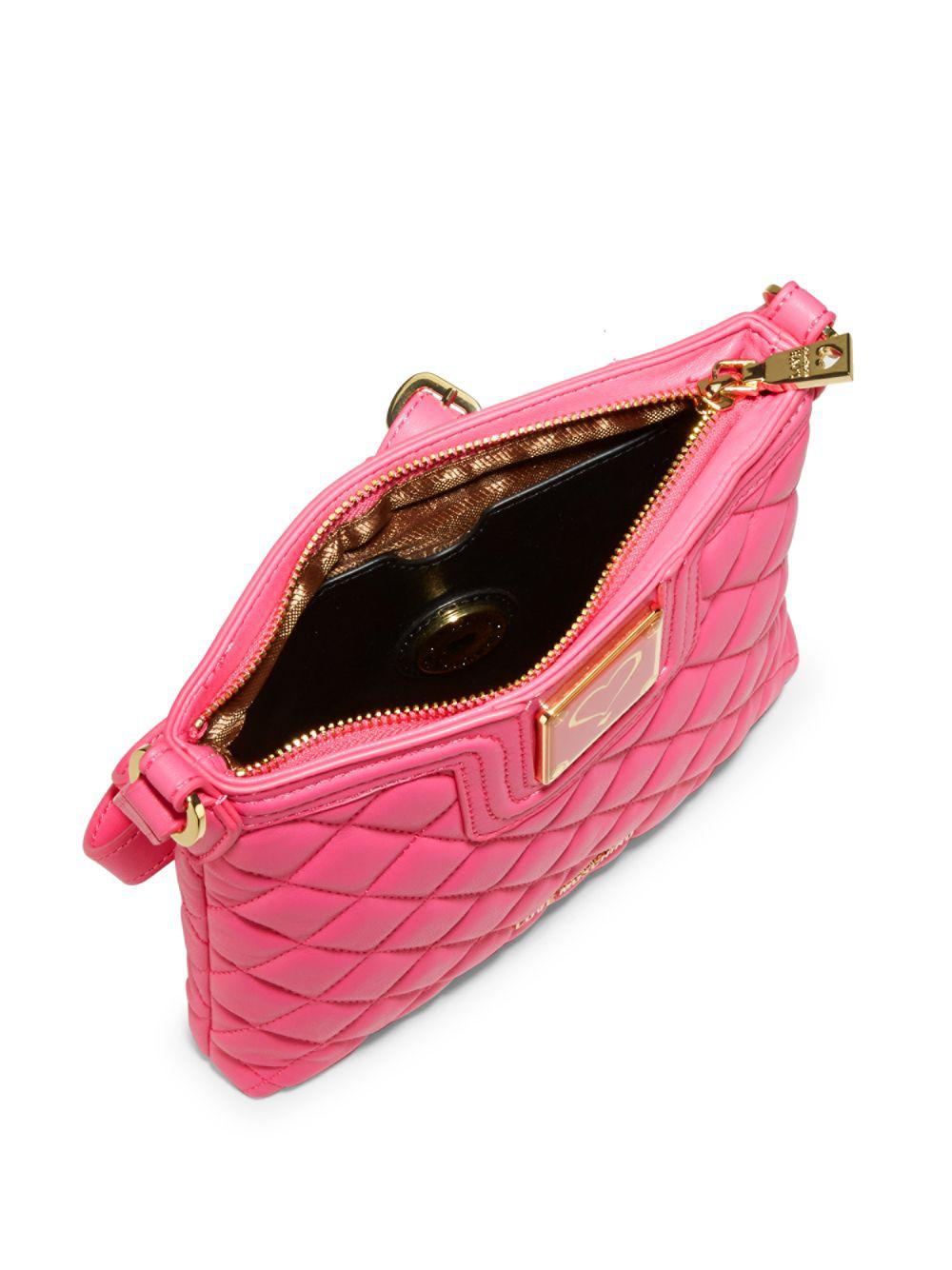 Love Moschino Leather Quilted Crossbody Bag in Pink